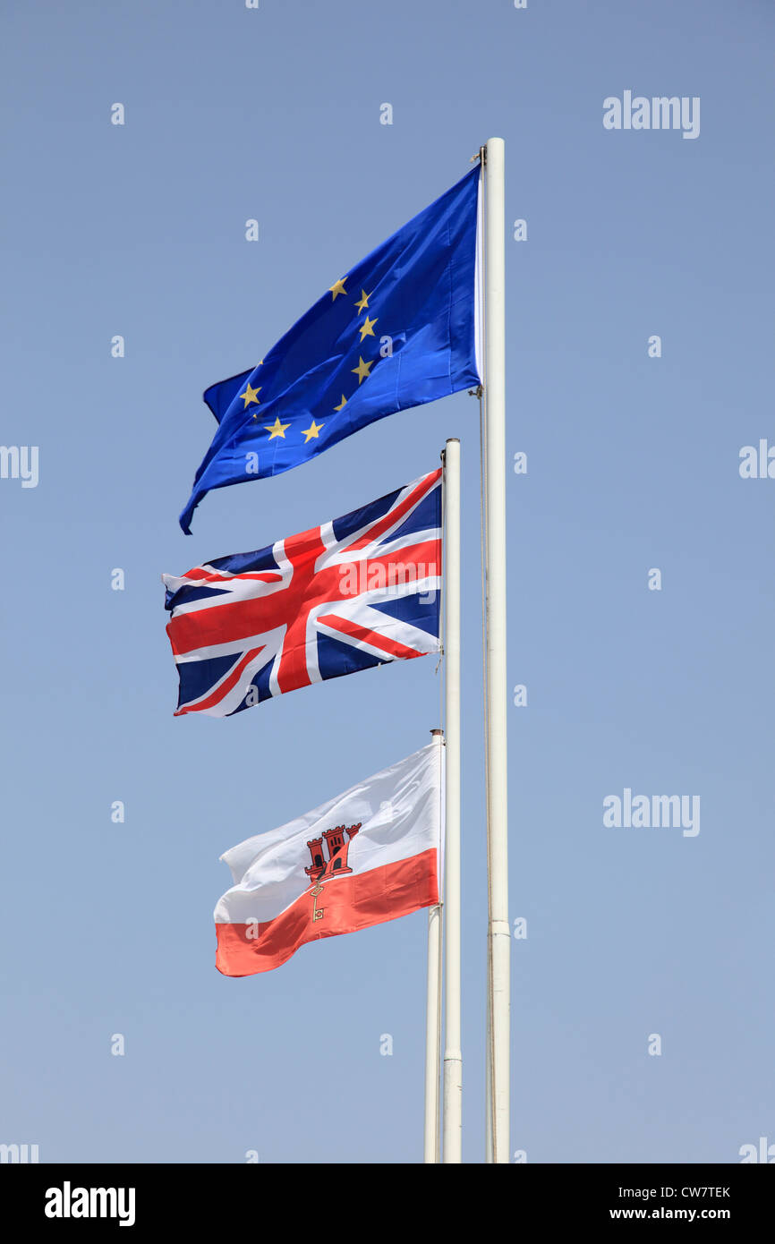 Flags of the European Union, United Kingdom and Gibraltar - Stock Image