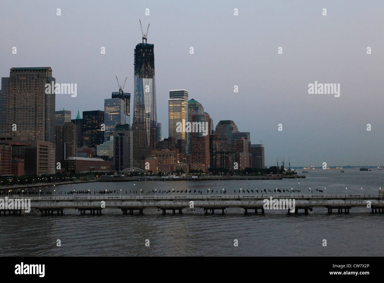 World Trade Center construction in downtown Manhattan - Stock Image