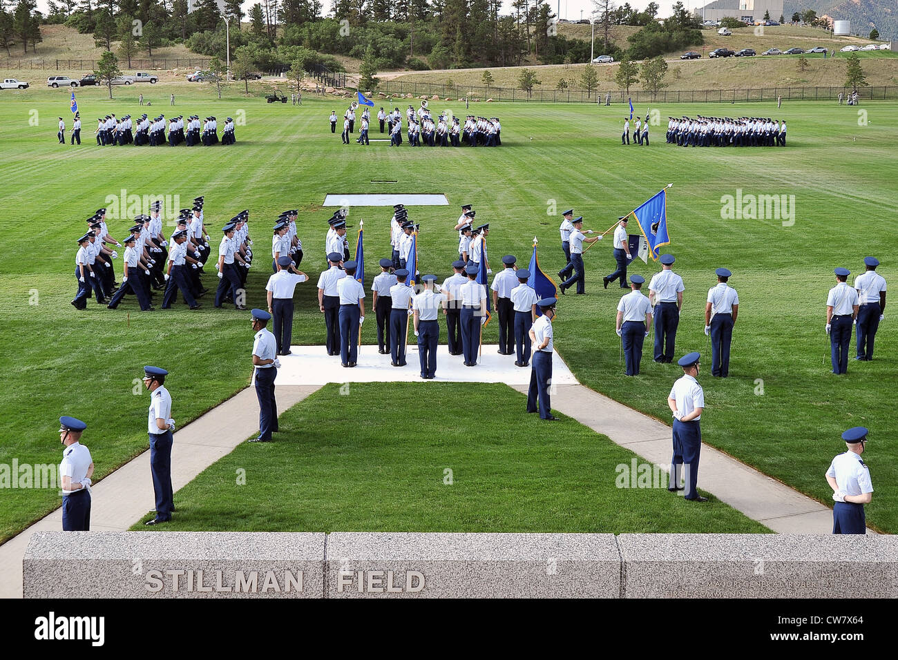 Superintendent Lt. Gen Mike Gould and senior staff conduct a pass-in-review by the U.S. Air Force Academy cadet Stock Photo