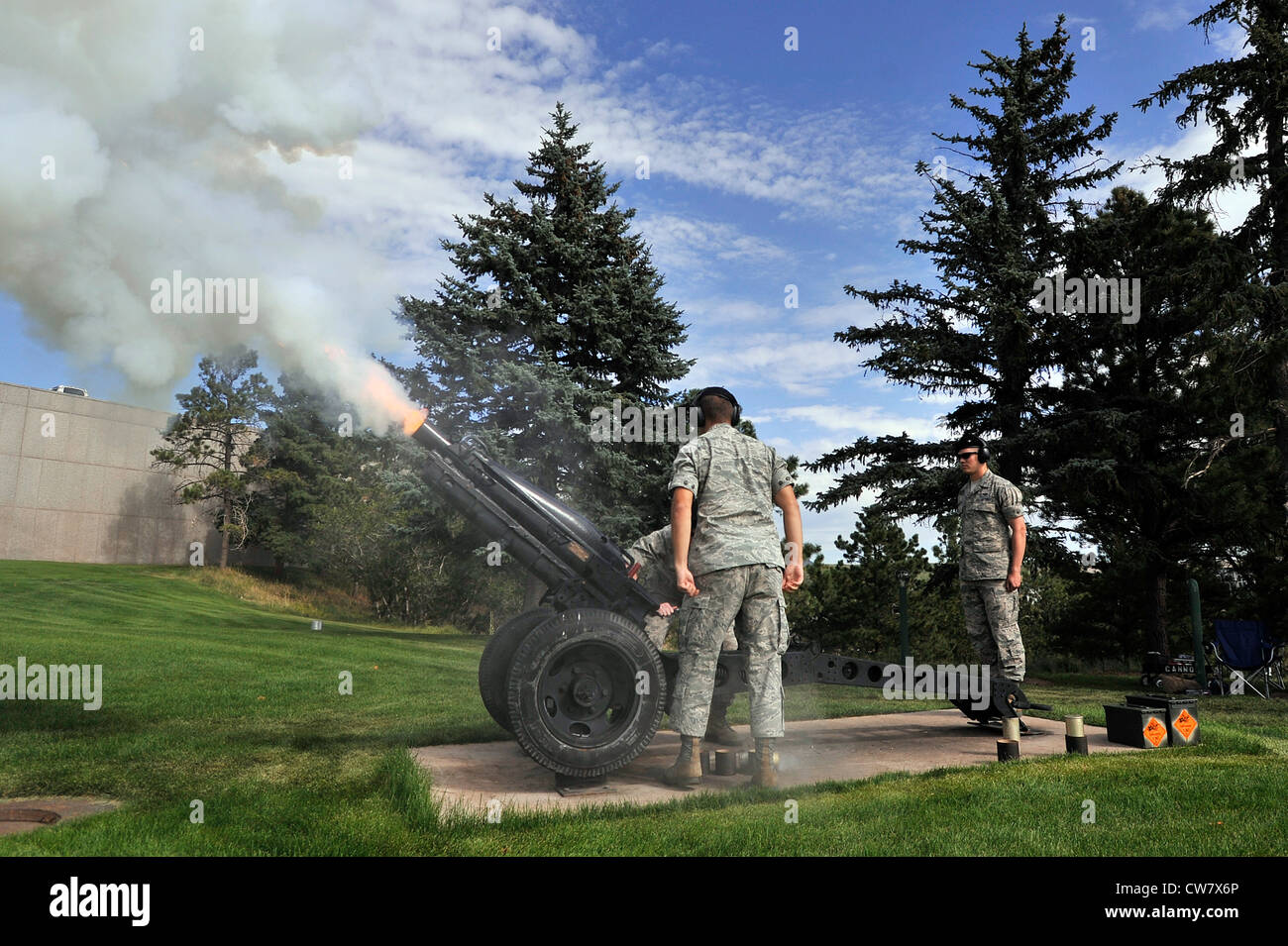 Cadets fire a 75mm M1A1 Howitzer during the Class of 2016 Acceptance Parade on the U.S. Air Force Academy's Stillman Stock Photo