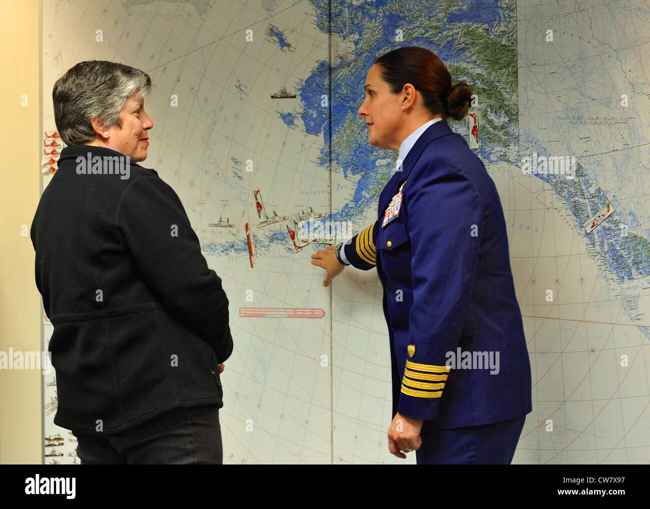 Capt. Melissa Rivera, commanding officer Air Station Kodiak, discusses the Air Station's assets, missions and - Stock Image