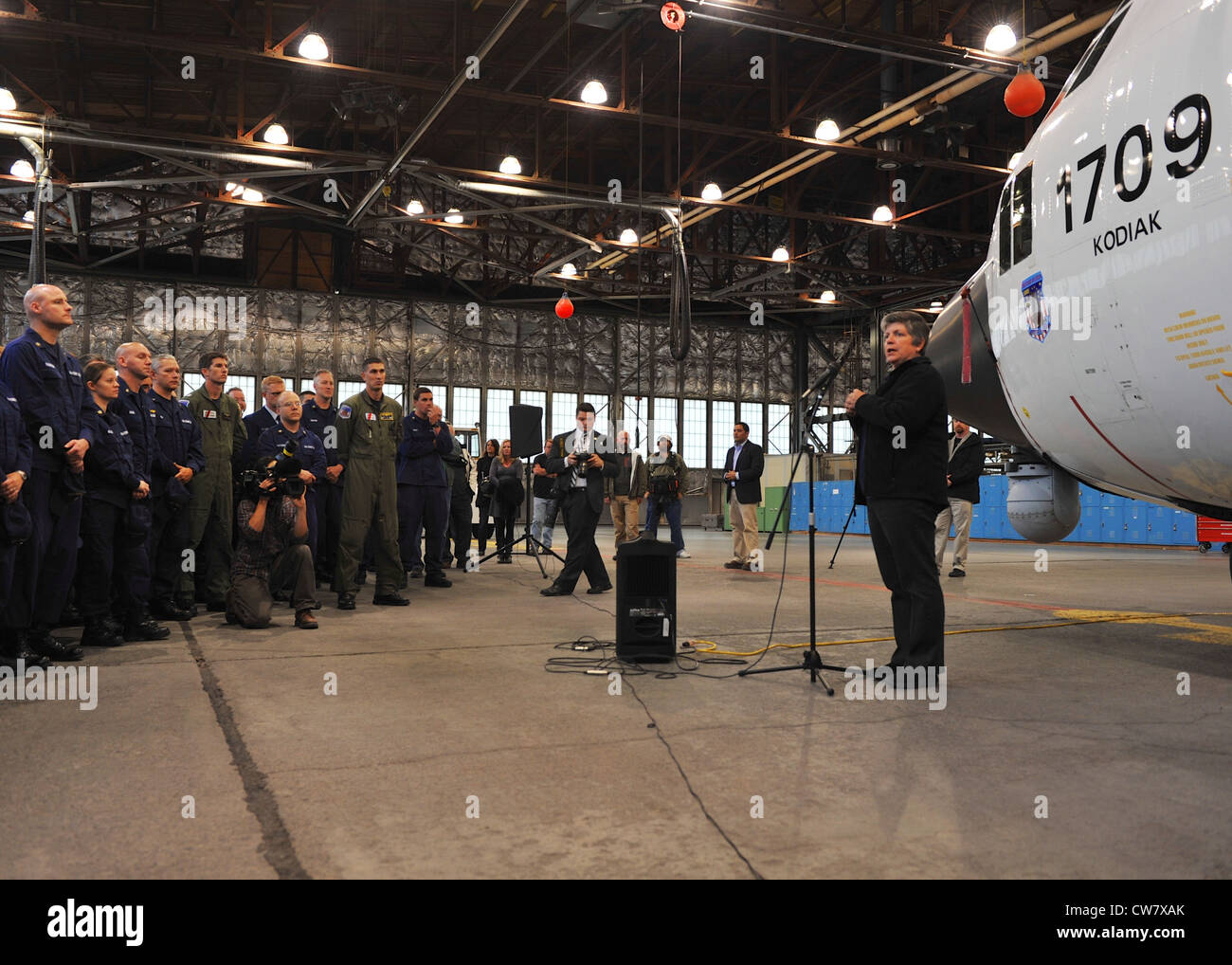 Secretary of Homeland Security Janet Napolitano addresses assembled Coast Guardsmen from units across Kodiak at - Stock Image