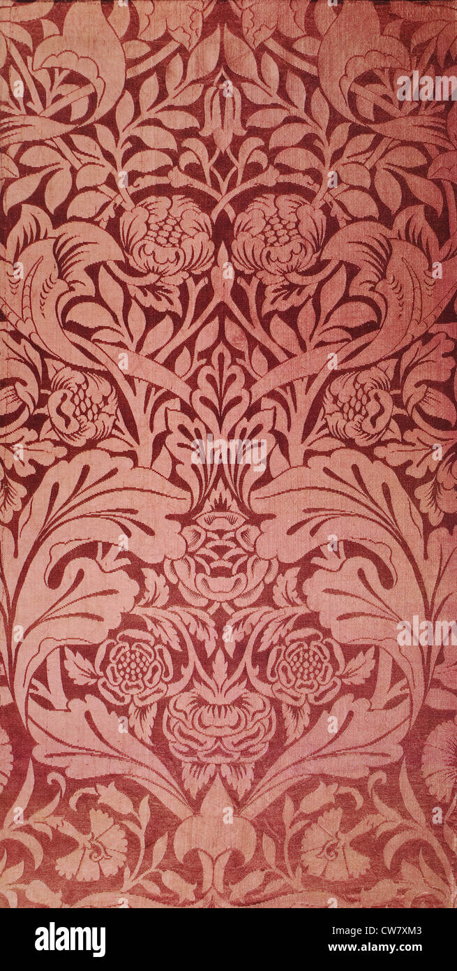 Dove and Rose Woven Textile - Stock Image