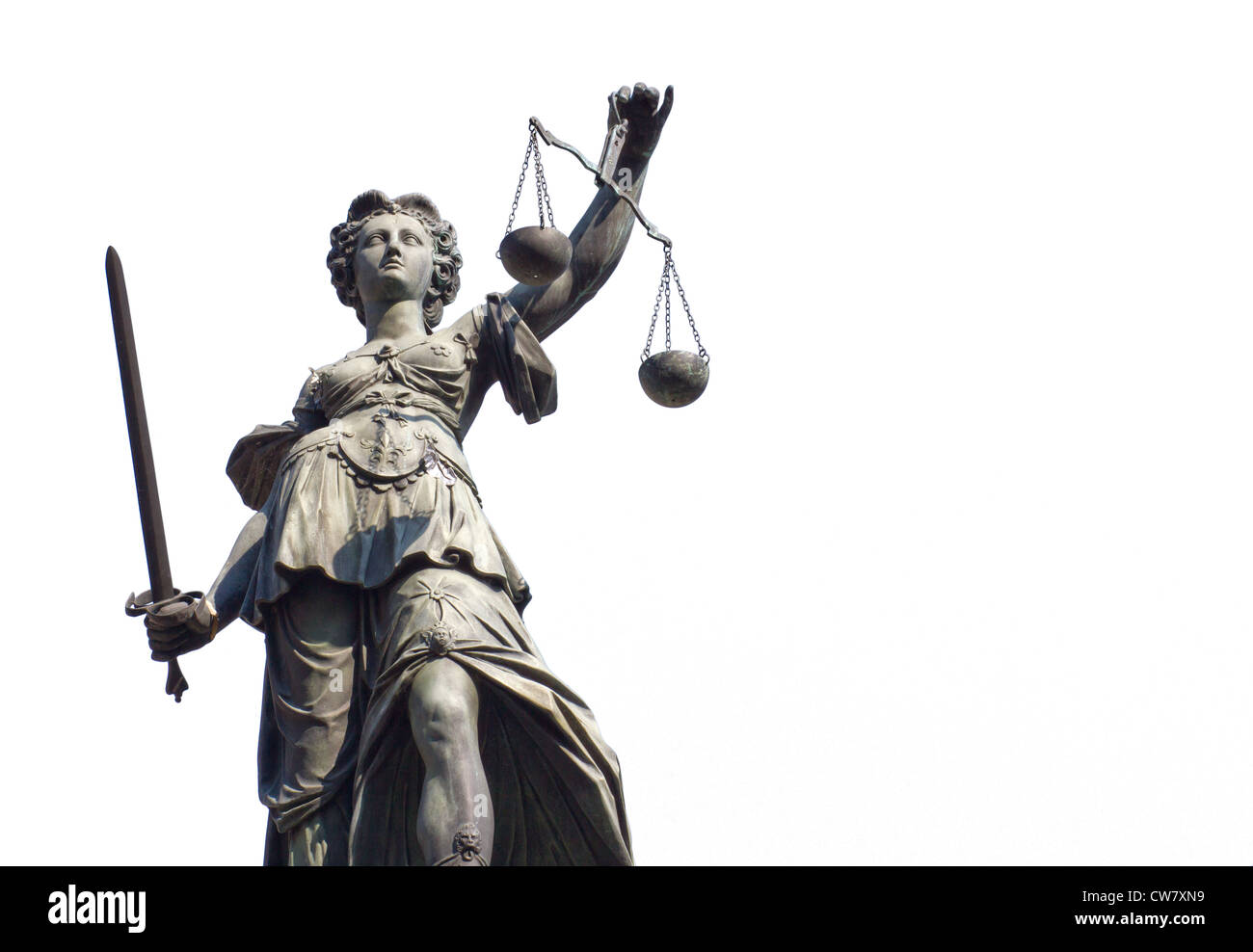 Justitia isolated on a white background, Frankfurt, Germany - Stock Image