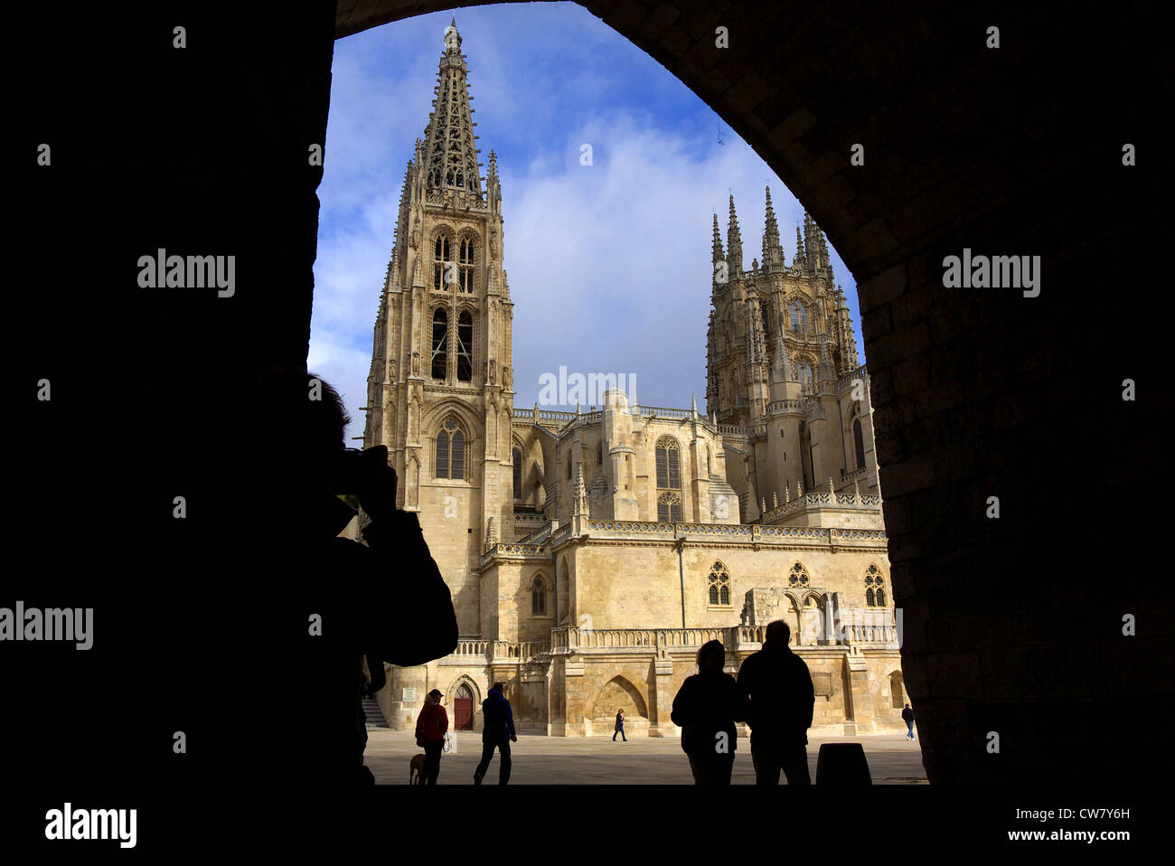The Cathedral of Santa Maria in Burgos, Spain, taken from under the arch of Santa Maria. Stock Photo
