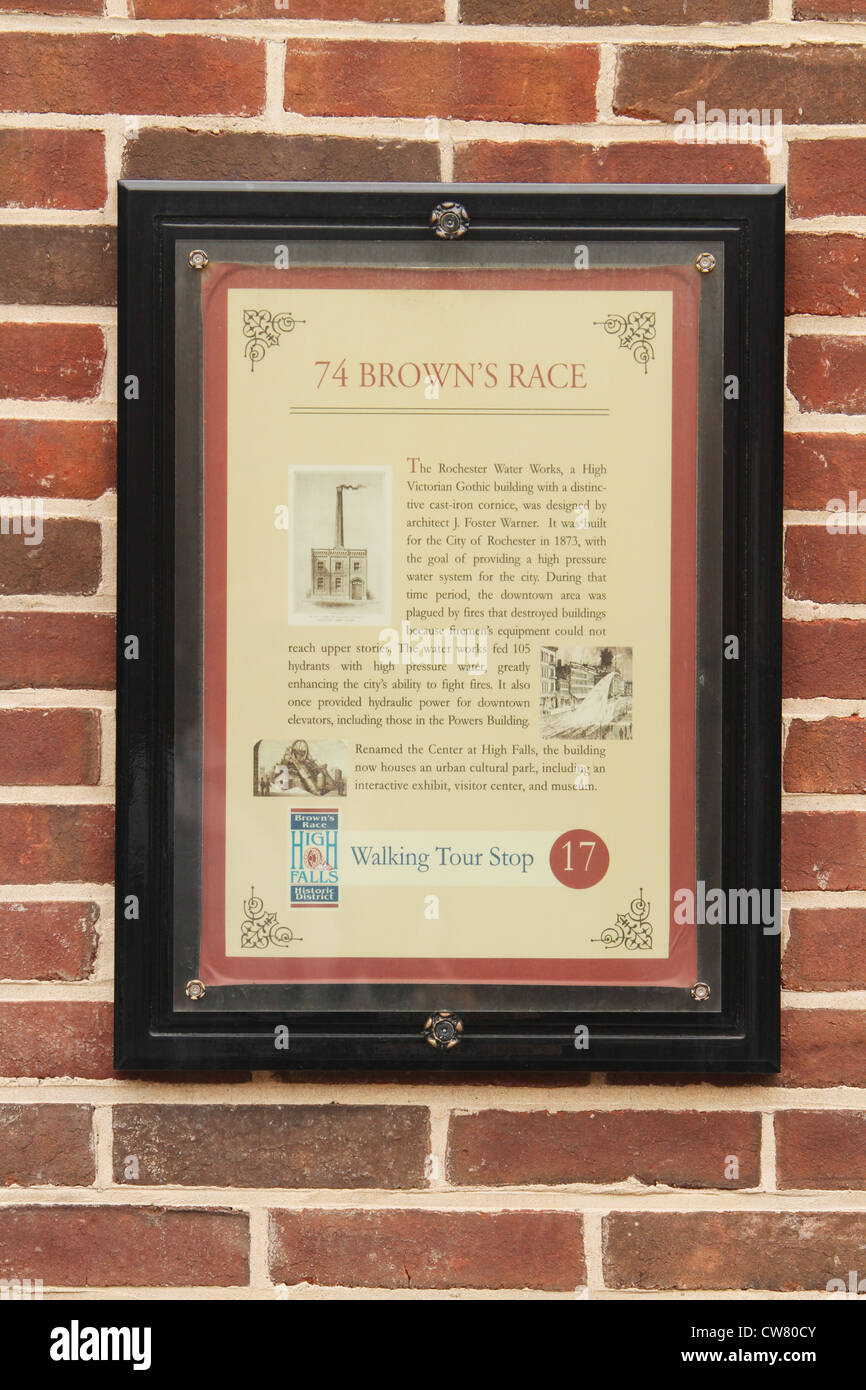 Historic Description Sign for Rochester Water Works Building. Circa 1873. 74 Brown's Race, Rochester, New York, - Stock Image