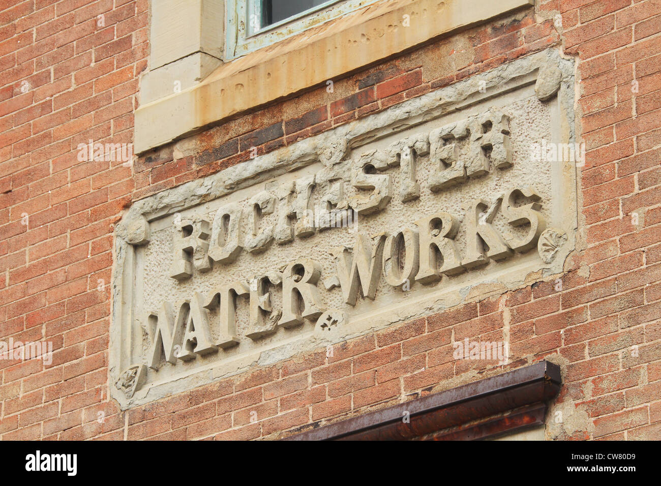 Sign for Rochester Water Works Building. Circa 1873. 74 Brown's Race, Rochester, New York, USA. - Stock Image