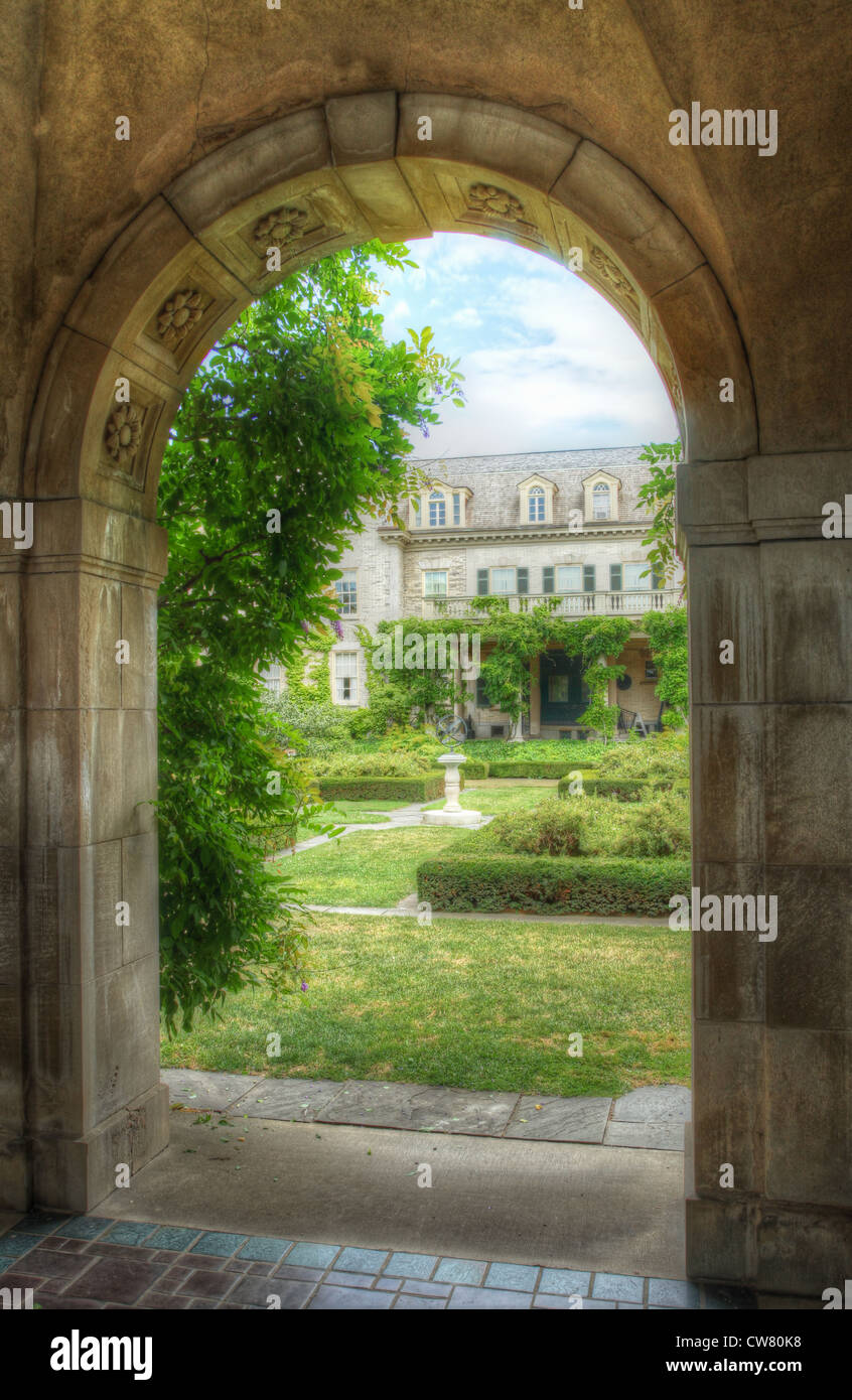 Formal Garden at George Eastman House. Museum of Photography. Founder of Kodak. Rochester, New York, USA. HDR photo - Stock Image
