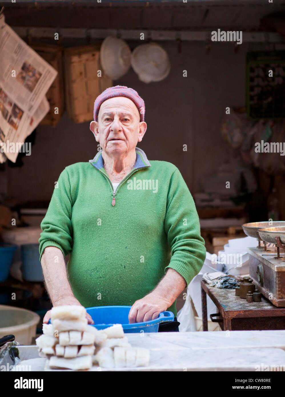 fish stand, Ballaro market, Palermo, Sicily, Italy - Stock Image