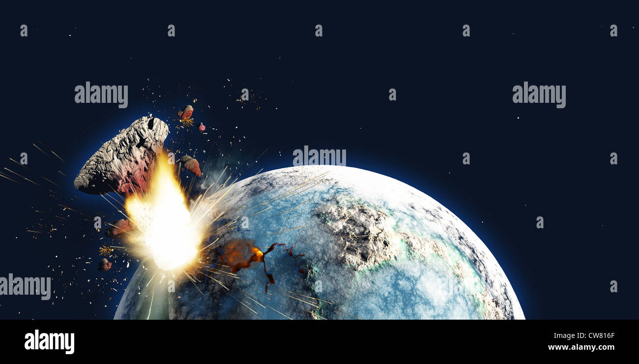 The Earth explodes from the inside and blows out a portion of the planet in the apocalypse on December 21, 2012. - Stock Image