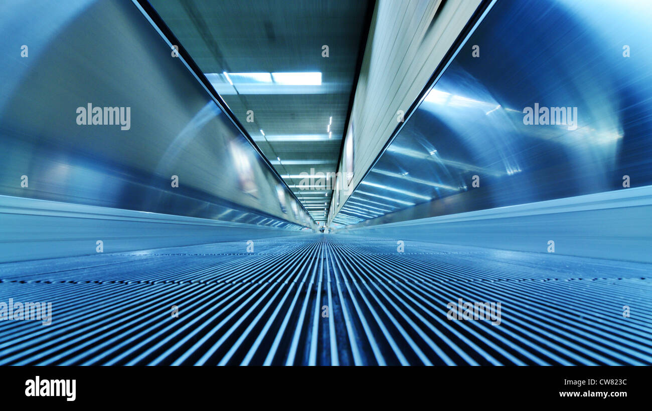 automated walkway at an airport - Stock Image