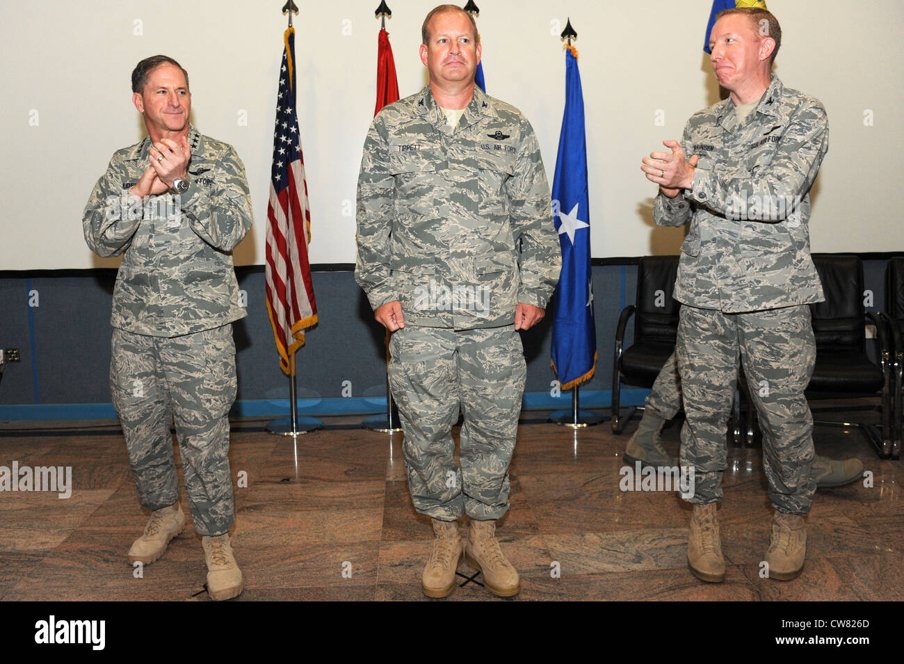 SOUTHWEST ASIA - U.S. Air Force Lt. Gen. David Goldfein, U.S. Air Forces Central Command and Combined Forces Air Stock Photo