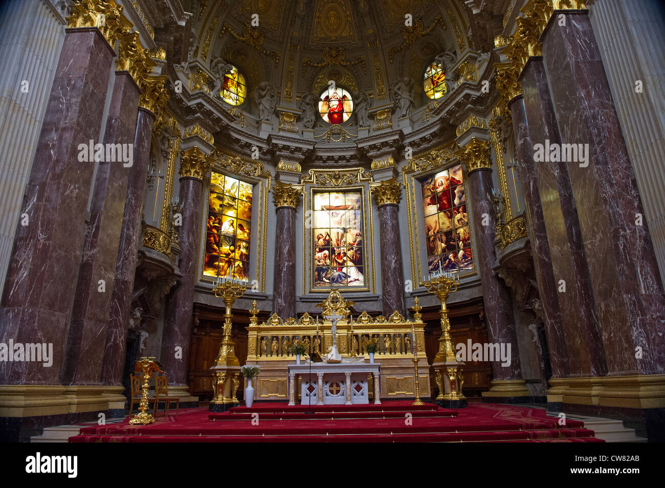 The interior of the Berlin Cathedral - Stock Image