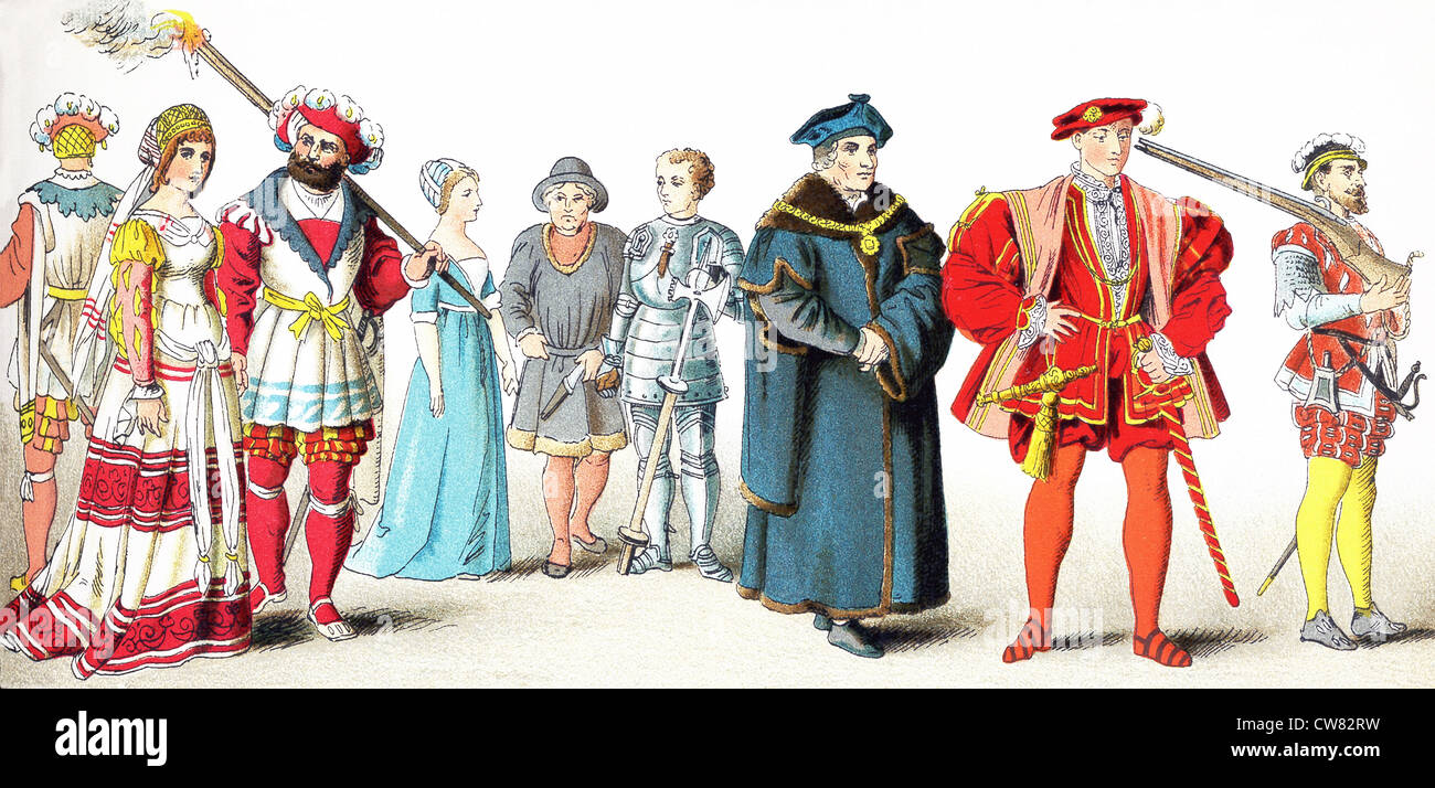 Three people of high rank, two citizens, a knight, Chancellor Sir Thomas More in 1535, the Earl of Surrey in 1540, - Stock Image