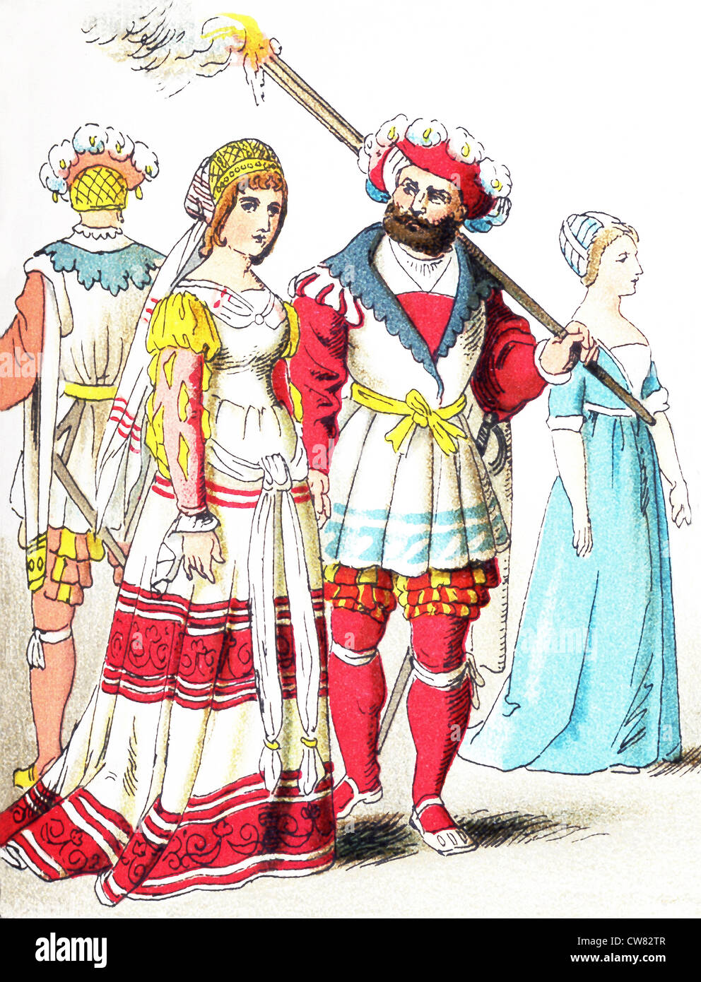 The figures represent English people between 1500 and 1550. They are: three people of high rank and a citizen. - Stock Image