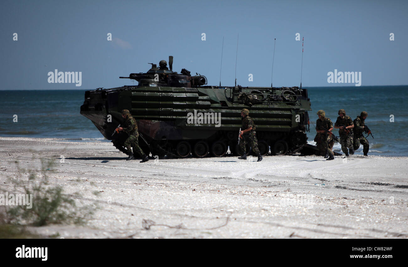 A U.S. Marine Corps amphibious assault vehicle with Security Cooperation Task Force Africa Partnership Station 2012 Stock Photo