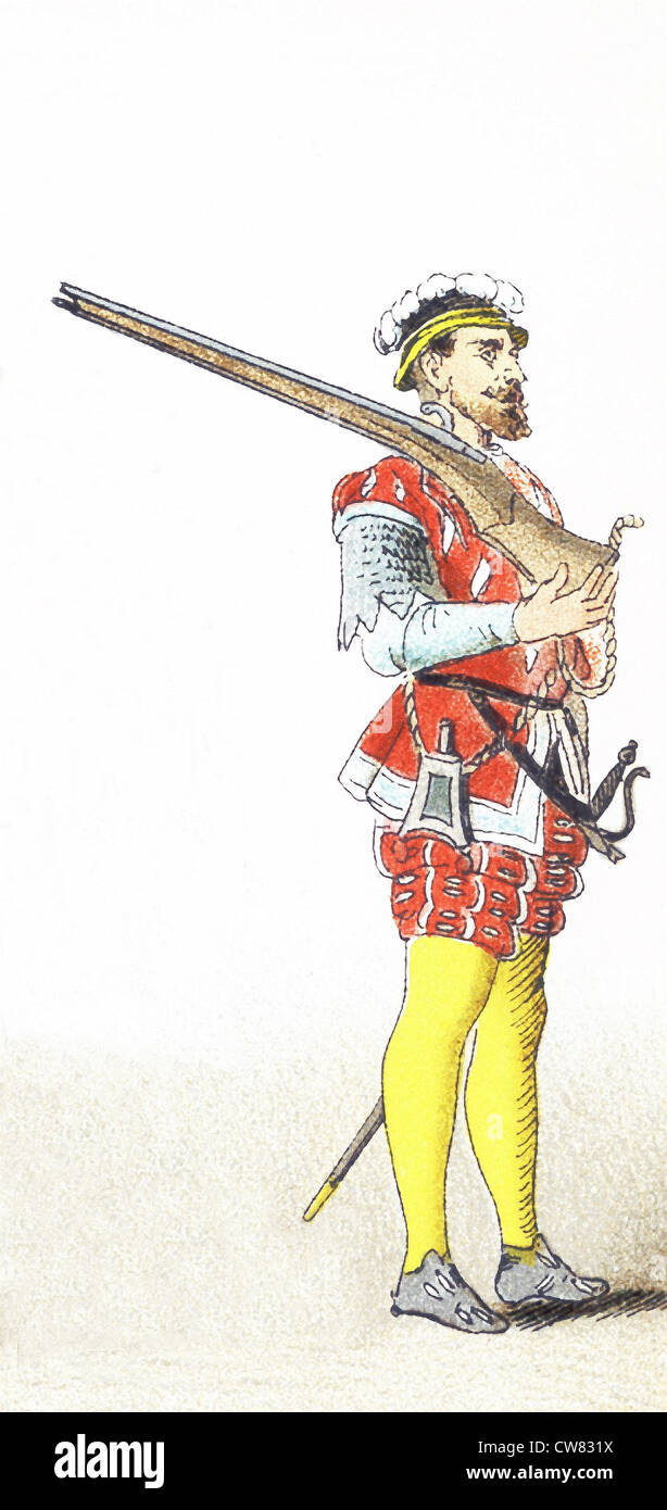 The figure pictured here represents an English soldier between 1500 and 1550. The illustration dates to 1882. - Stock Image