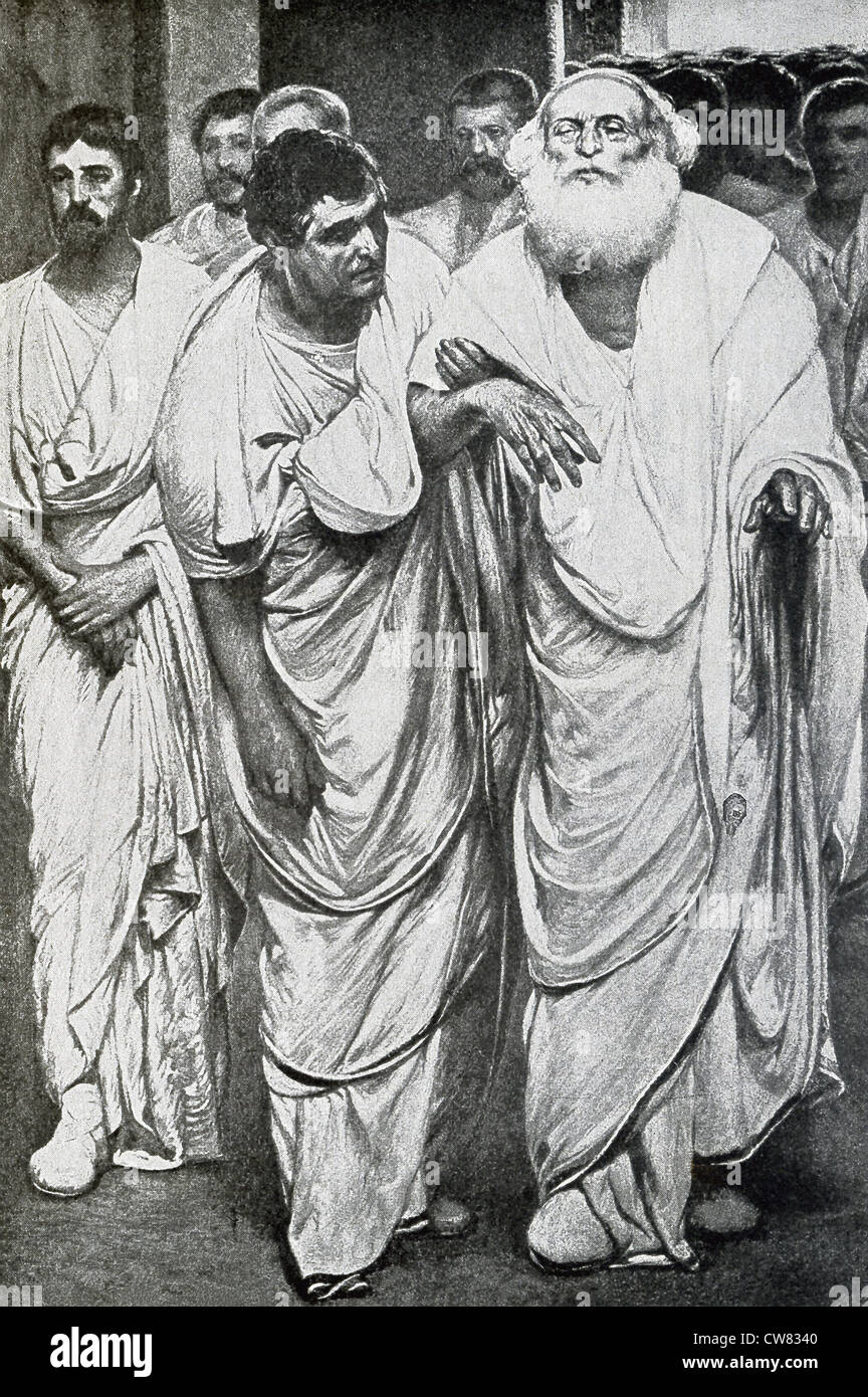 The Roman politician Appius Claudius is led into the Senate before his speech in 280 B.C. - Stock Image