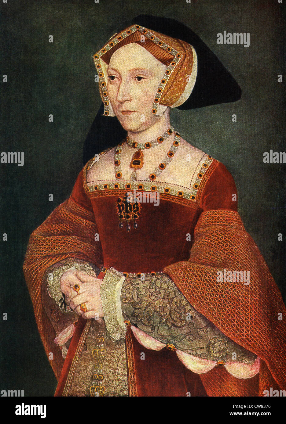Hans Holbein (1497_1543?) painted this portrait of Jane Seymour, the third wife of Henry VIII, between 1536 and - Stock Image