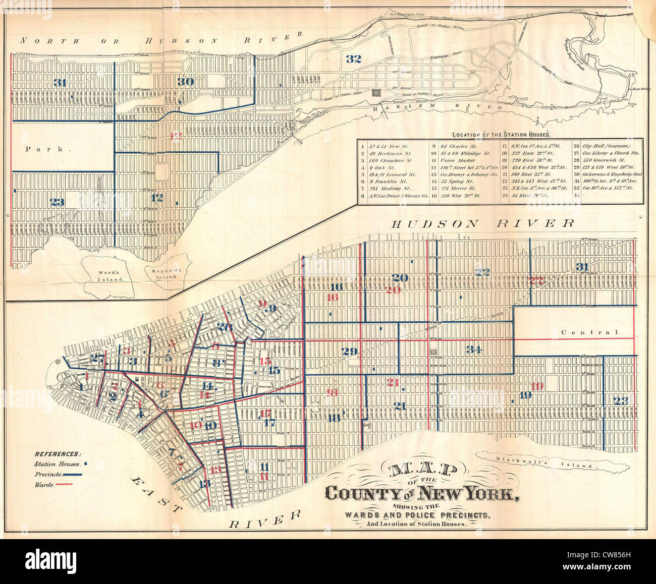 1871 Hardy Map of New York City Police Departments - Stock Image