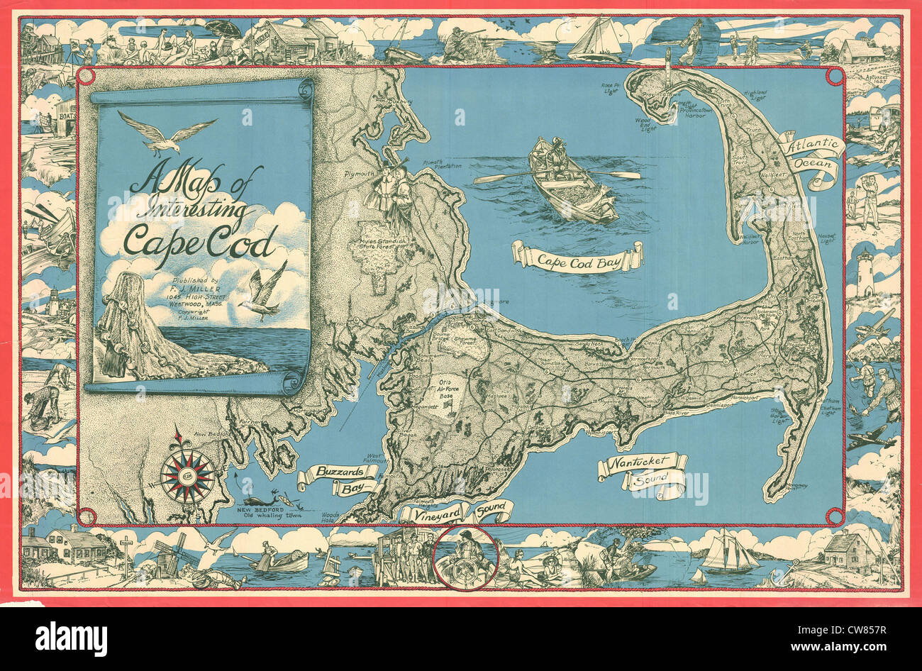 1945 Miller Map of Cape Cod, Massachusetts Stock Photo: 49966891 - Alamy