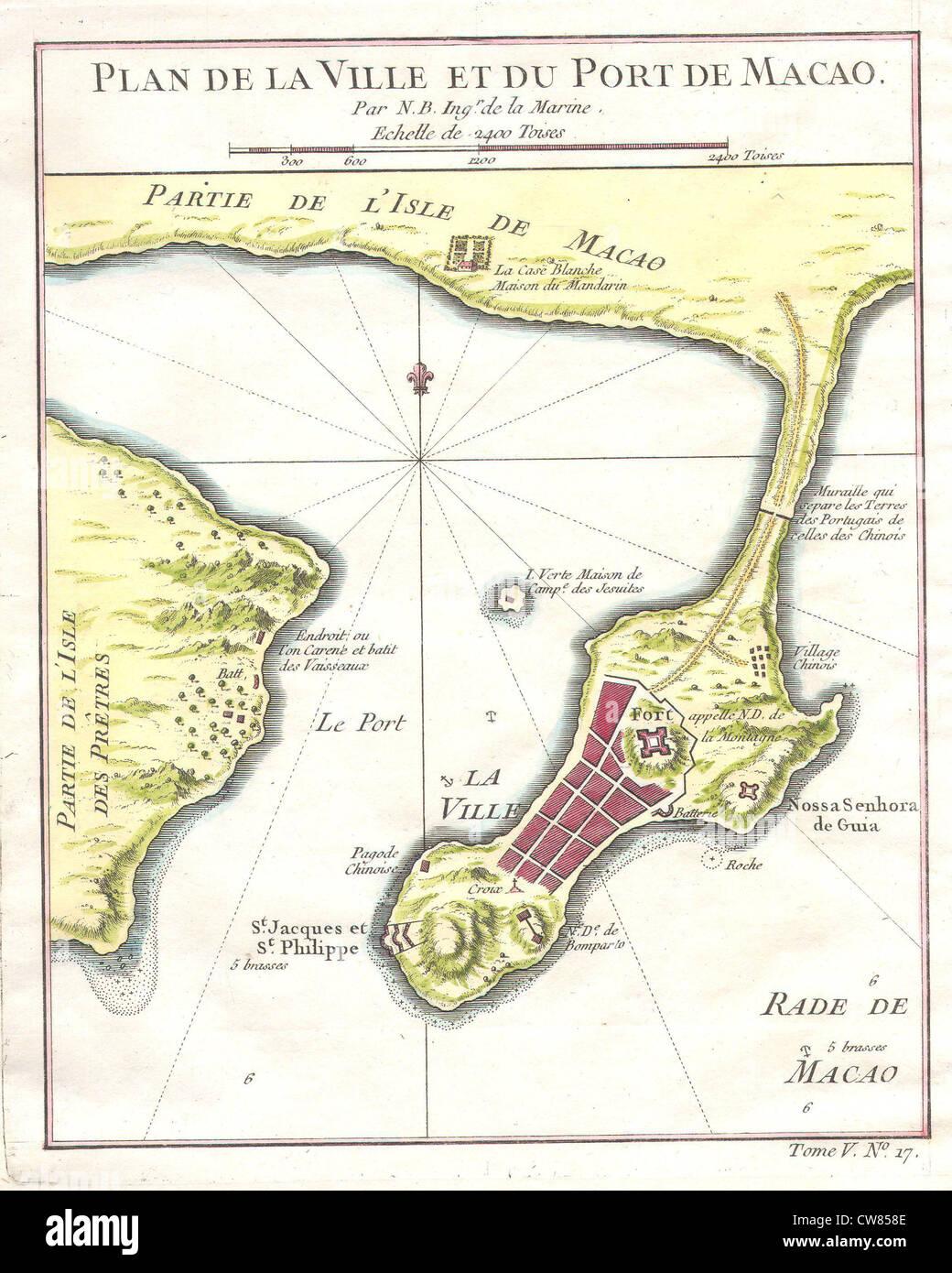 1750 Bellin Map of Macao Hong Kong China - - Stock Image