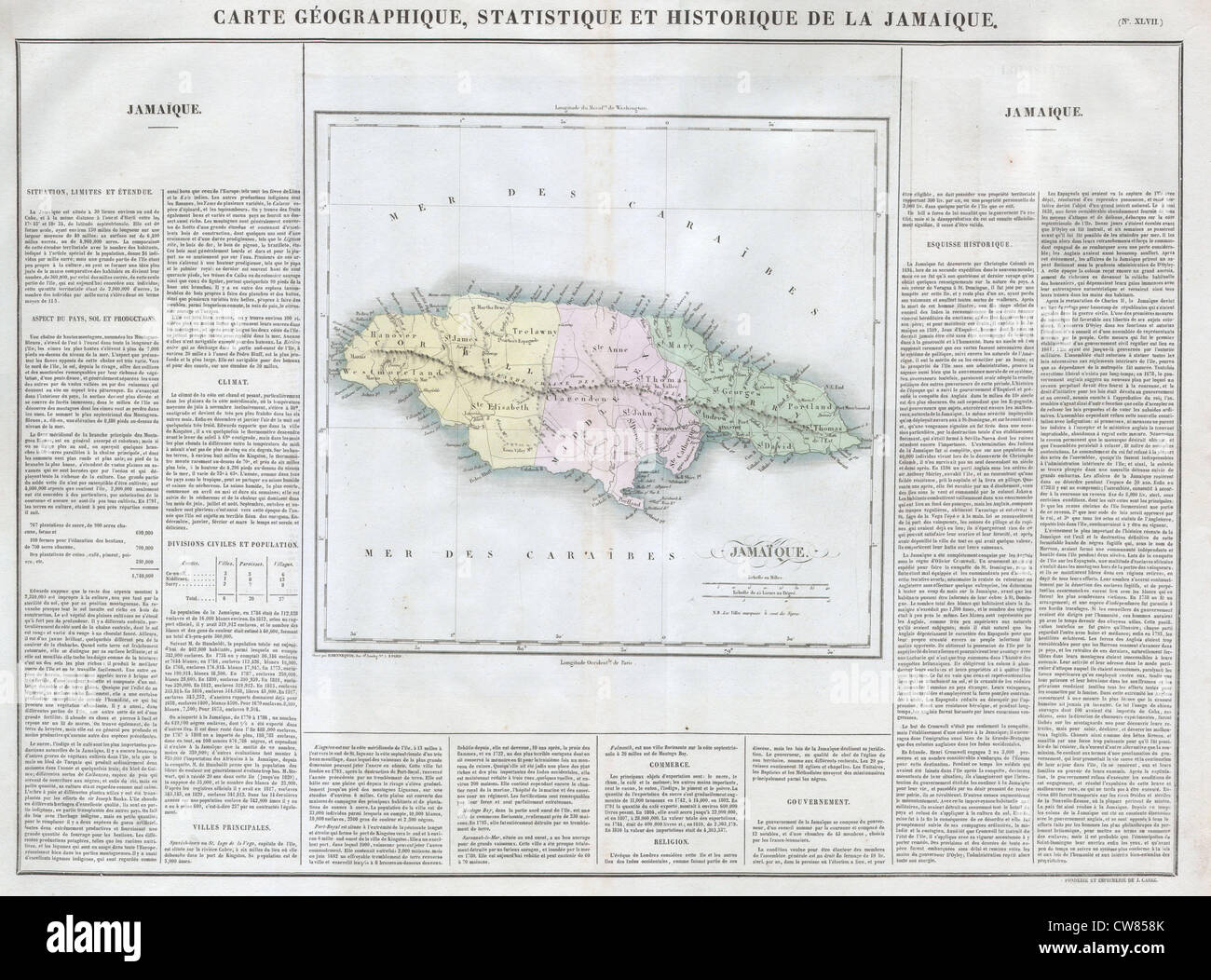 1825 Carez Map of Jamaica ( West Indies Stock Photo ...