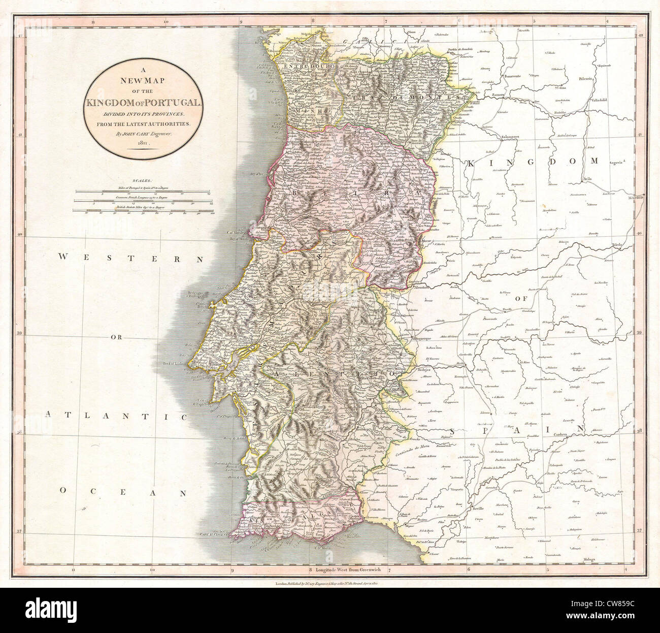 1811 Cary Map of the Kingdom of Portugal - Stock Image