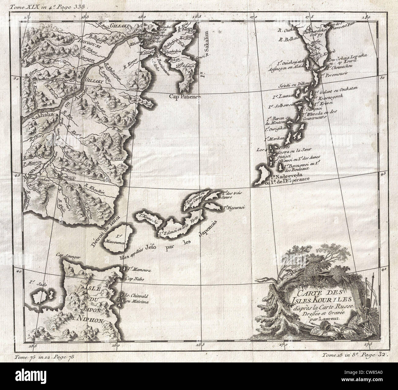 1750 Bellin Map of the Kuril Islands - Stock Image