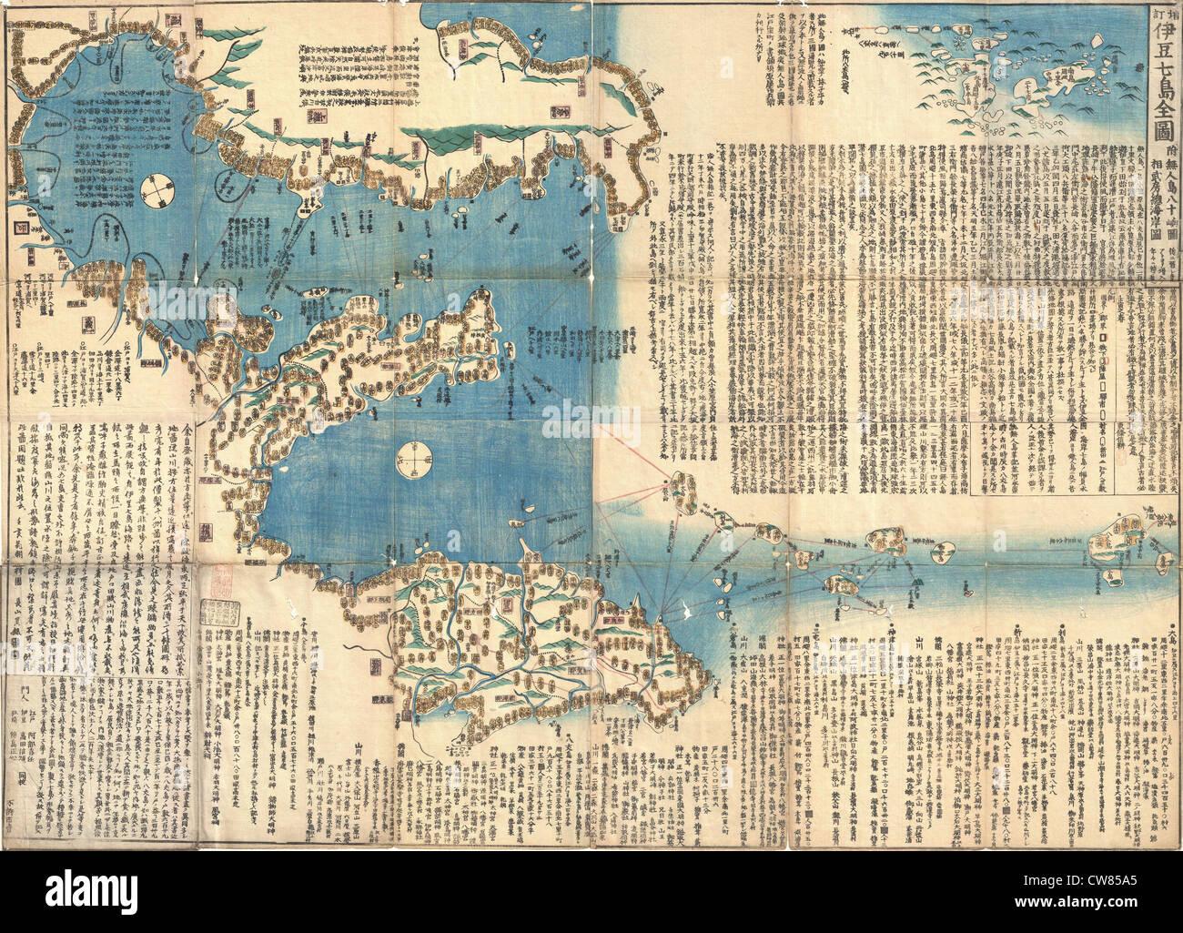 1847 Japanese Edo Period Woodblock Map of the Izu Islands (Tokyo or Edo) - Stock Image