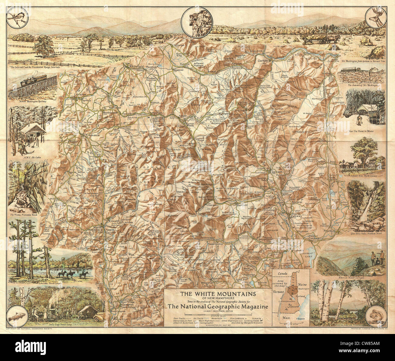 1937 National Geographic Map of the White Mountains - Stock Image
