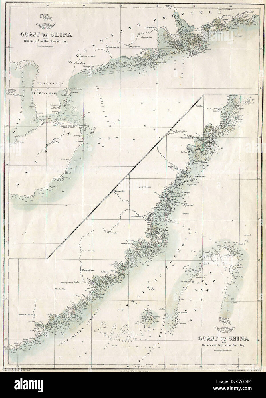1863 'Cassell's Dispatch Atlas' Map of Taiwan - Formosa ^ the Hainan Coast of China - Stock Image