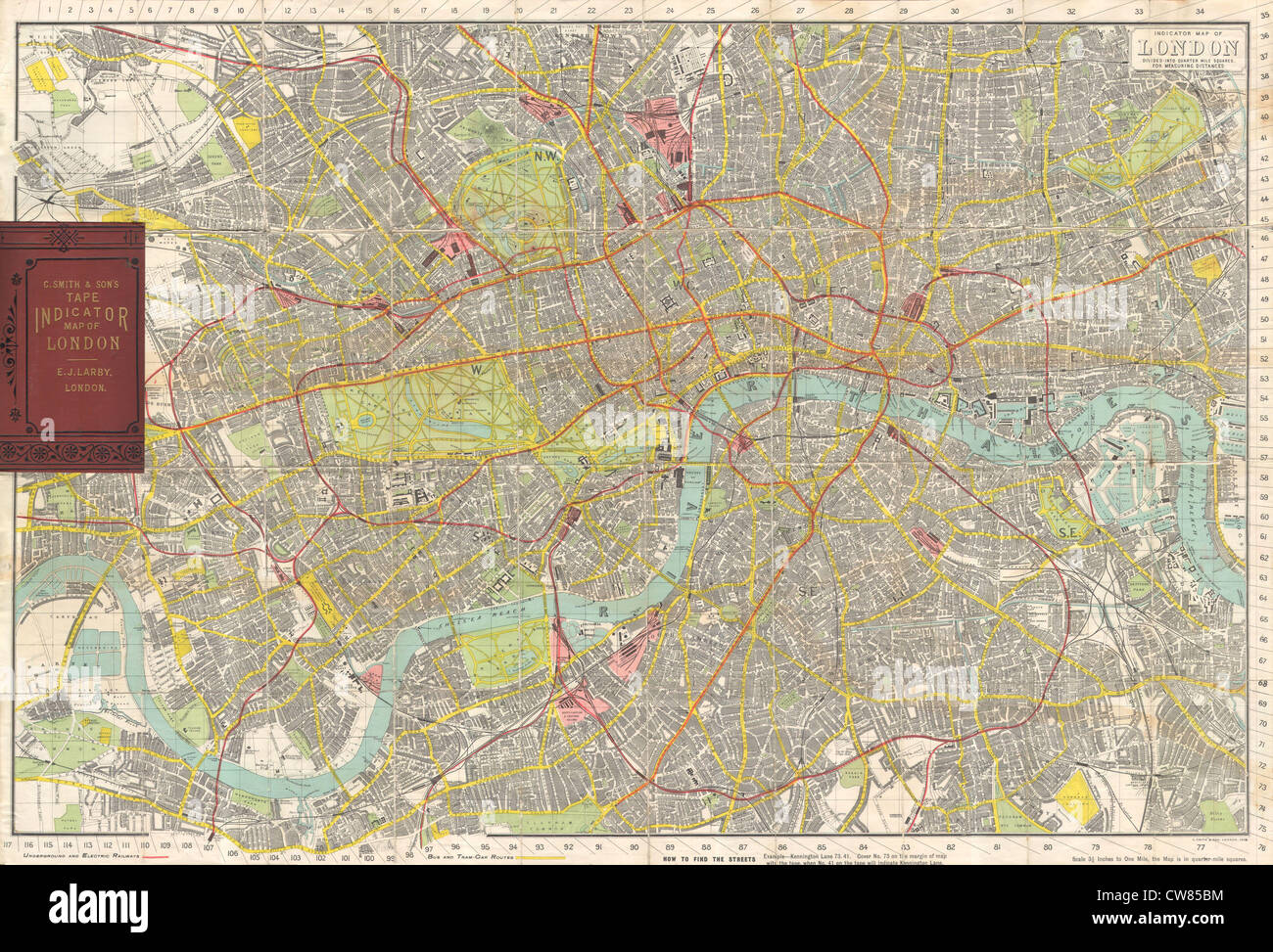 1910 Smith's Tape Indicator Map of London ( Pocket Map ) - Stock Image