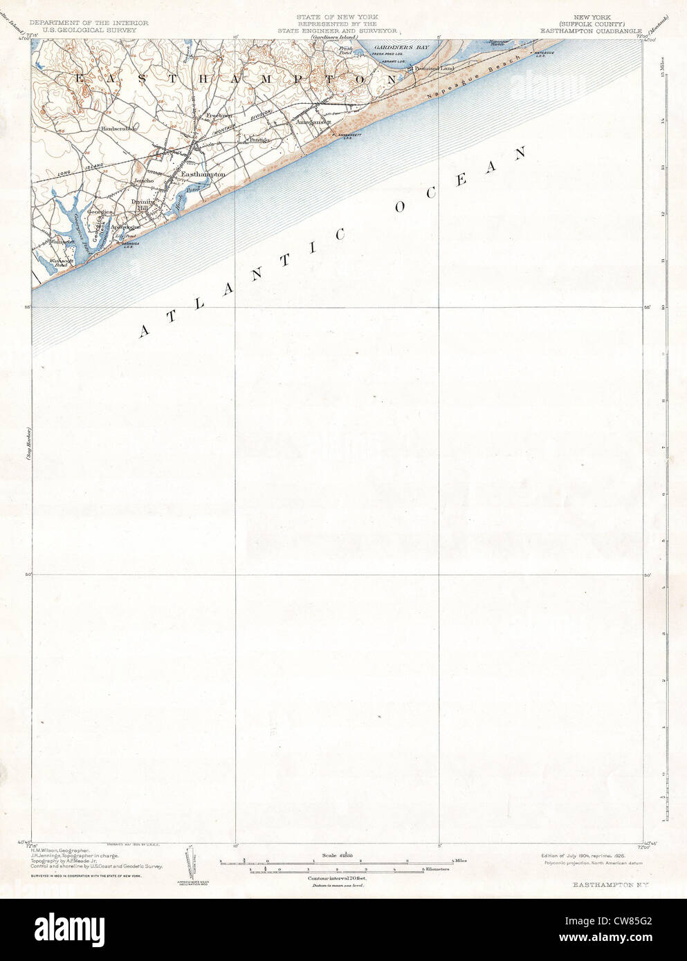 1904 U.S.G.S. Map of Easthampton, Long Island, New York - Stock Image