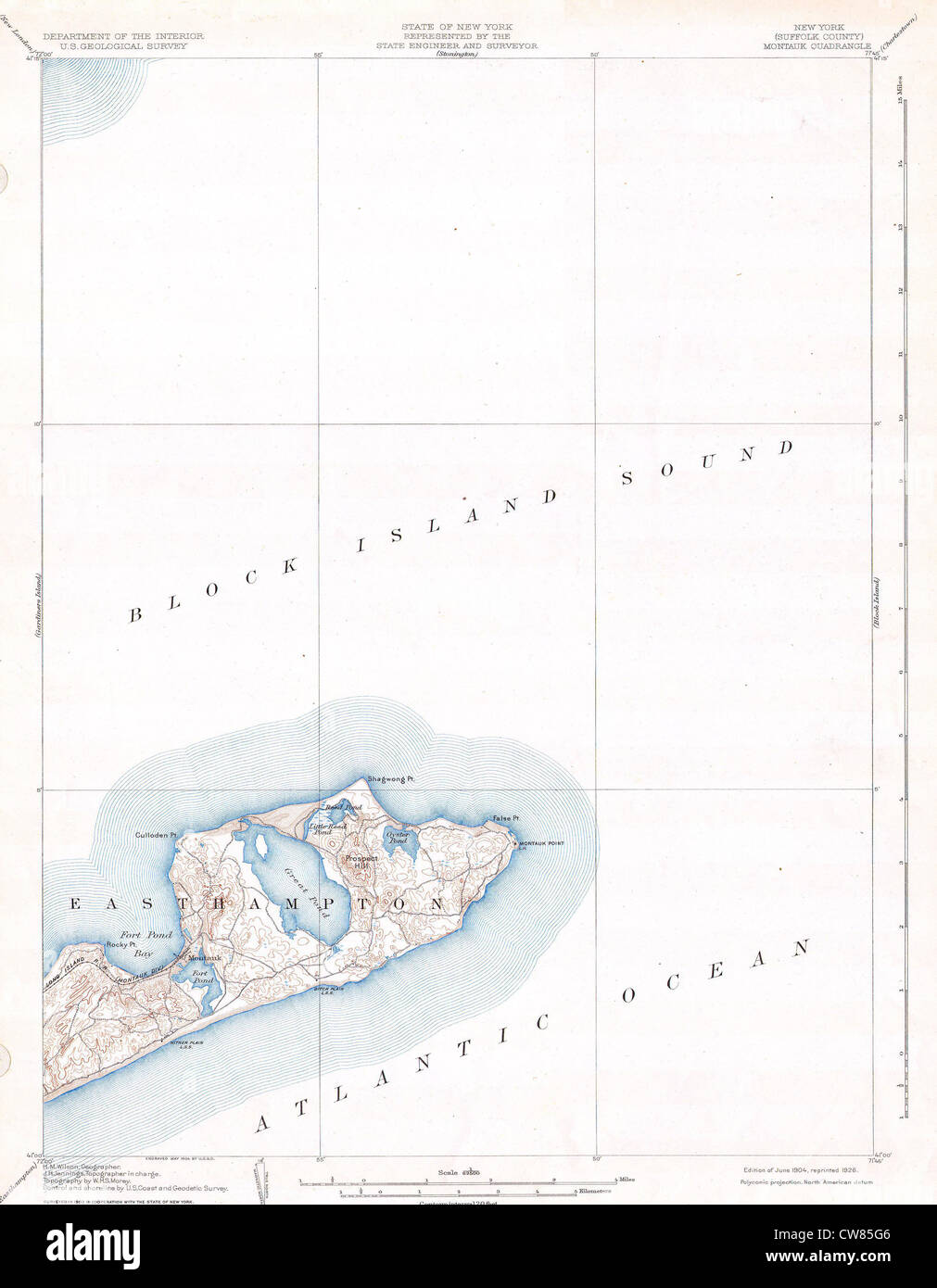1904 U.S.G.S. Map of Long Island, New York ( Montauk ^ Easthampton) - Stock Image
