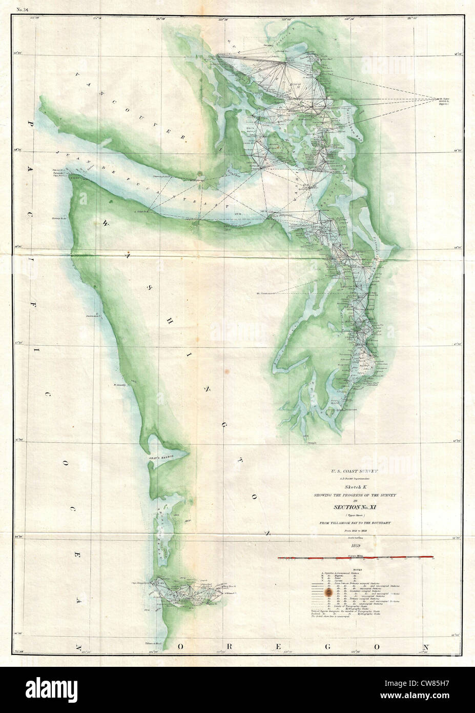 1859 U.S. Coast Survey Map of the Puget Sound and Washington ...