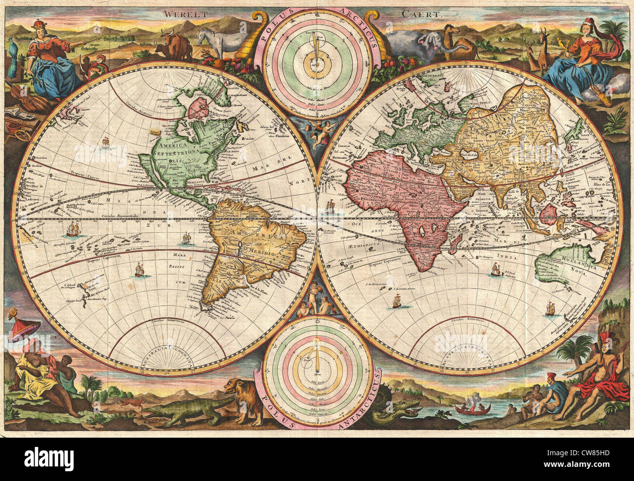 1730 Stoopendaal Map of the World in two Hemispheres Stock Photo