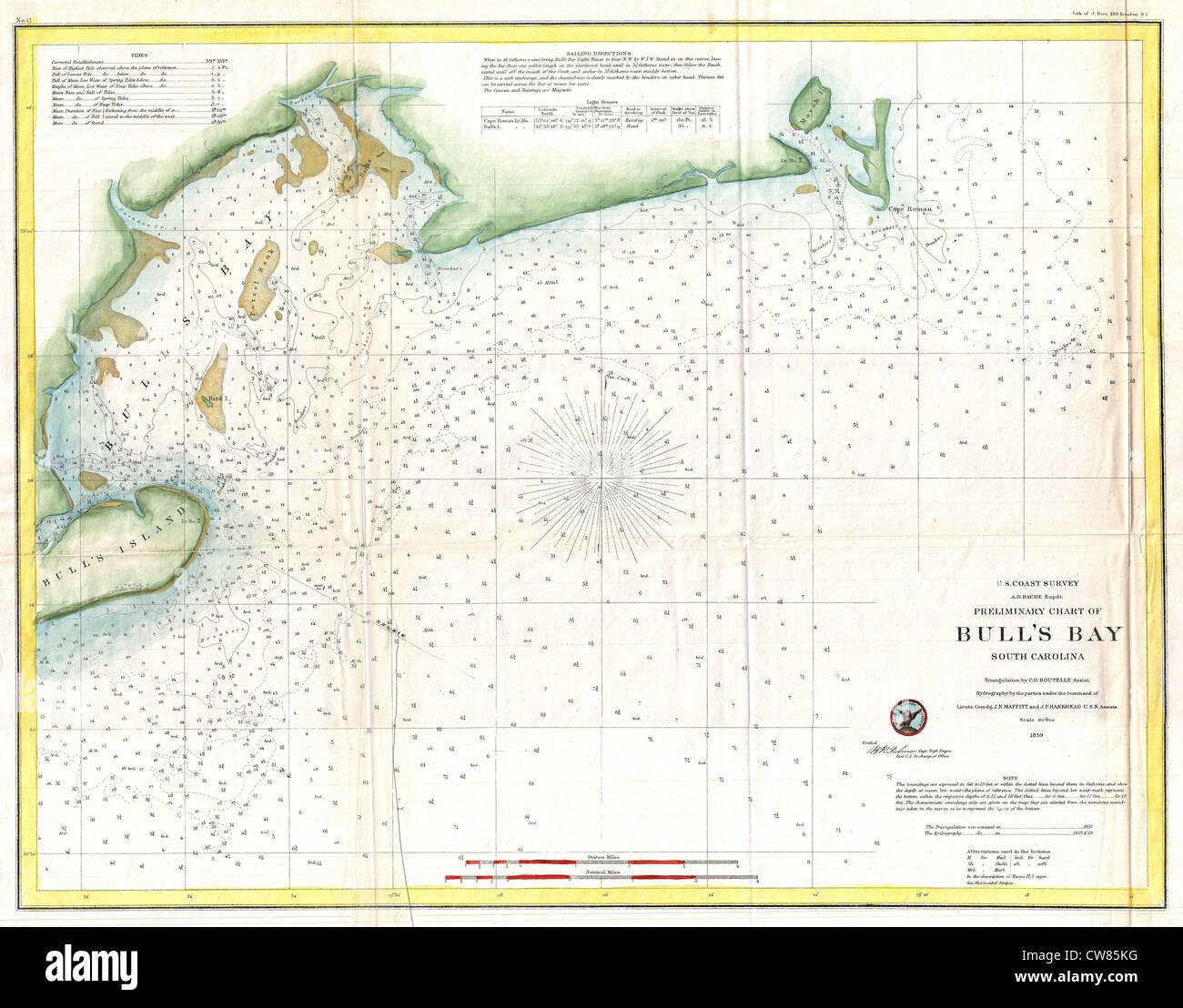 Coast Of South Carolina Map.1859 U S Coast Survey Map Of Bull S Bay South Carolina Stock Photo