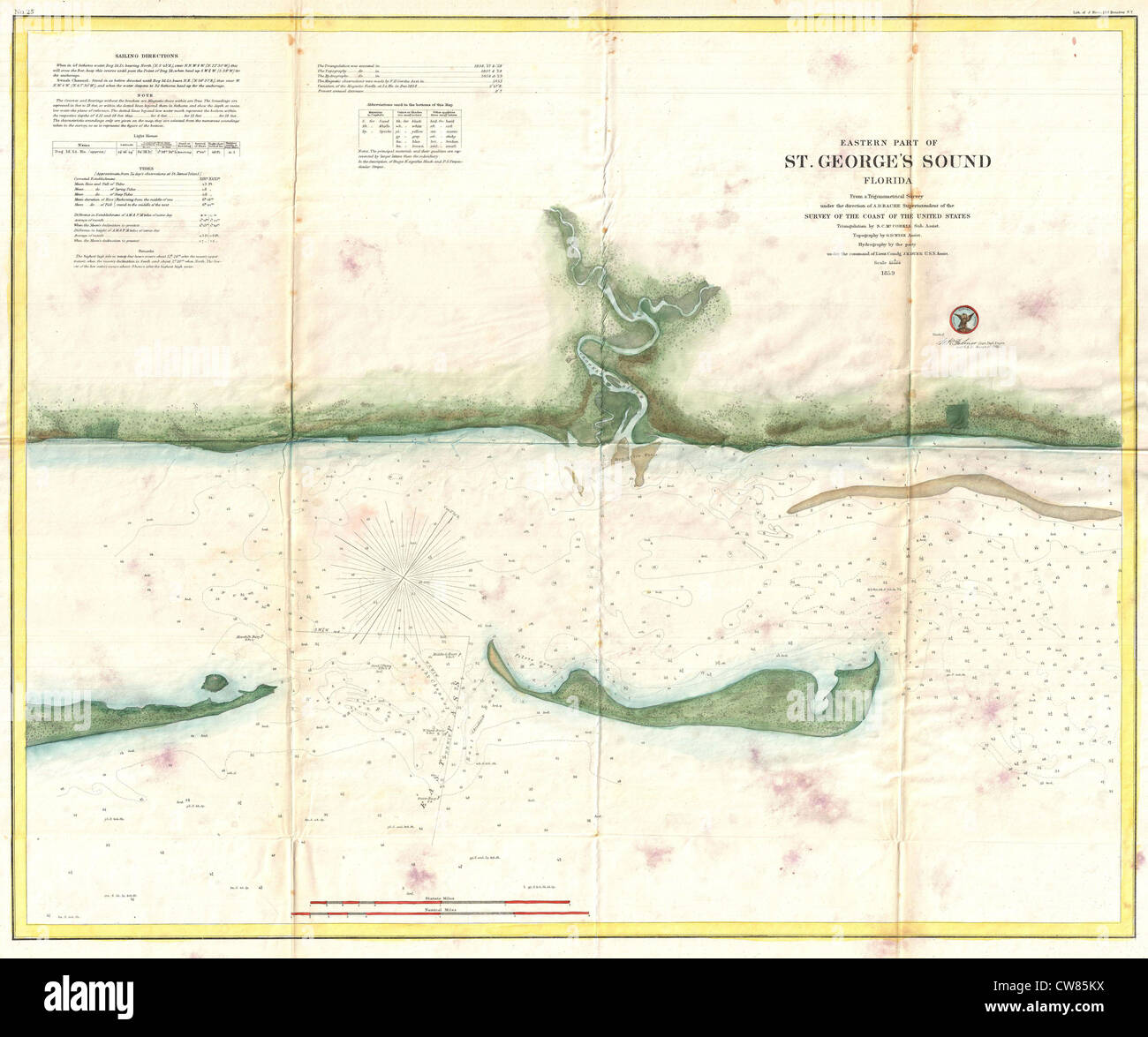 Saint George Florida Map.1859 U S Coast Survey Map Of St George Sound Florida Panhandle
