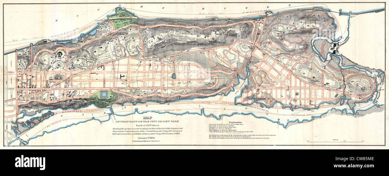 870 Knapp Map of Northern Manhattan ( New York City ), Harlem, Washington Heights, Inwood - Stock Image