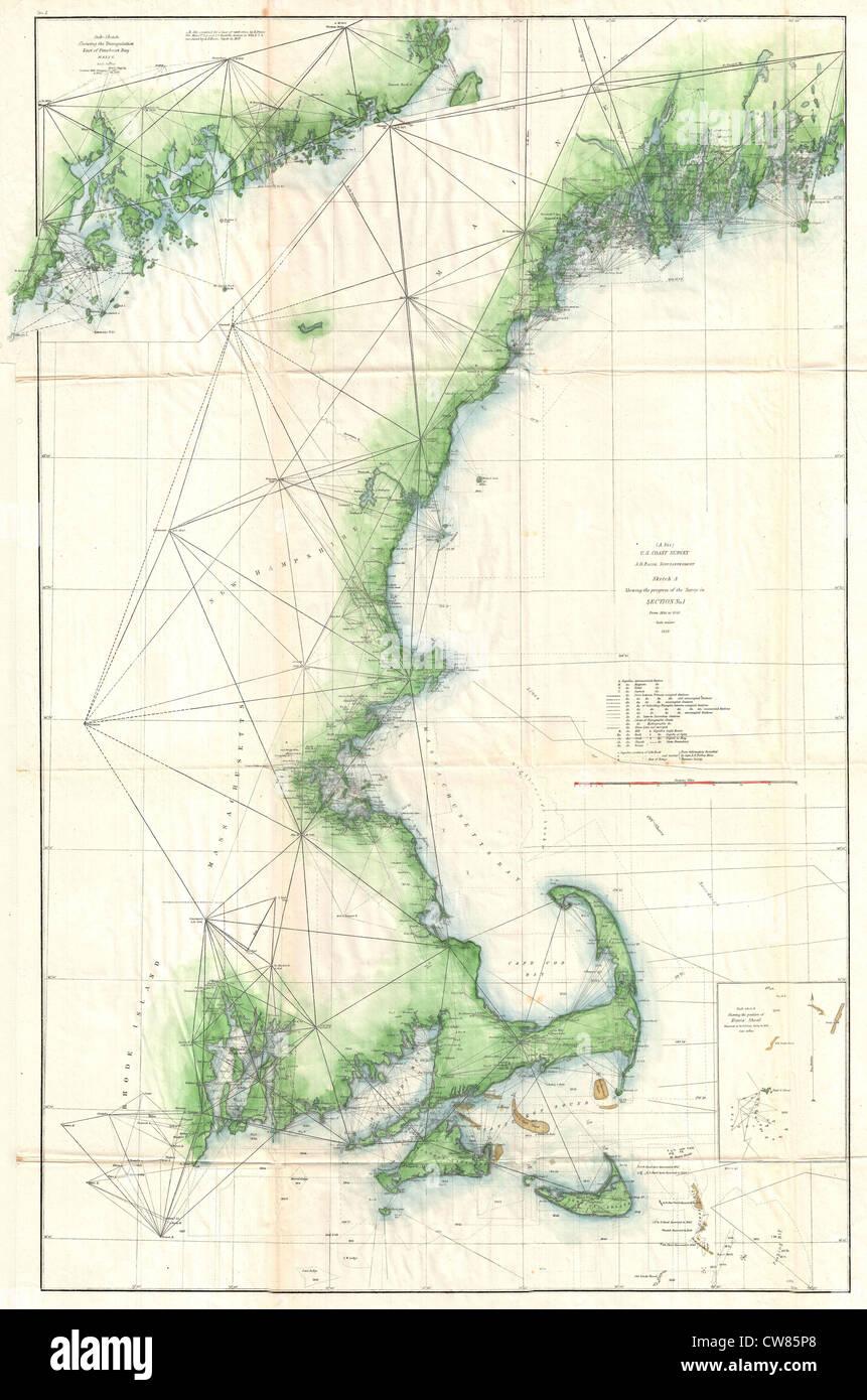 1859 U.S. Coast Survey Map of the New England Coast - Stock Image