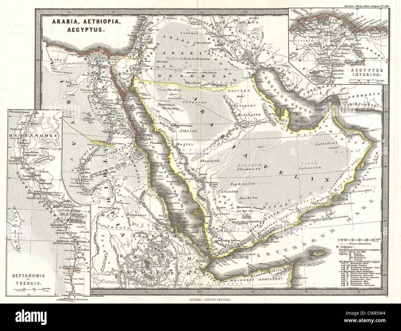 1865 Spruner Map of Arabia and Egypt in Antiquity - Stock Image