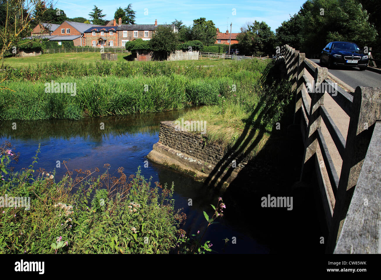 Tilford bridge and river Wey, Tilford village, Surrey Hills, England - Stock Image
