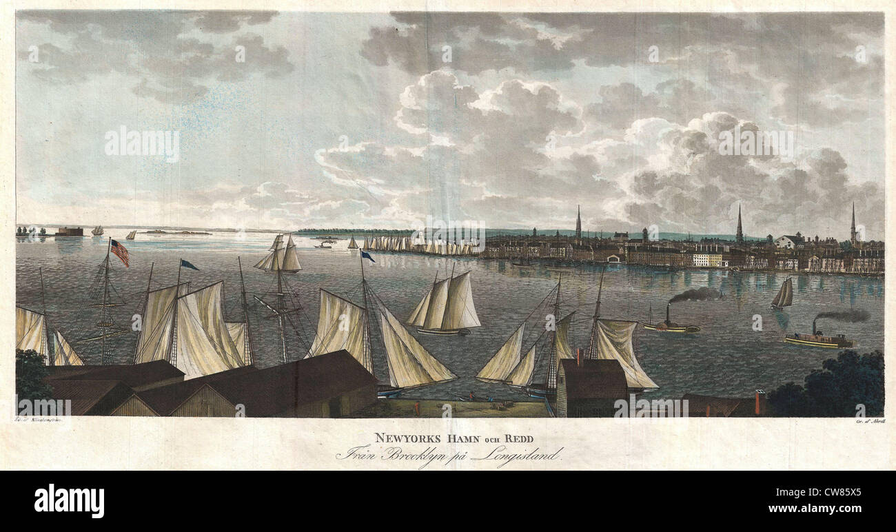 1824 Klinkowstrom View of New York City from Brooklyn - Stock Image