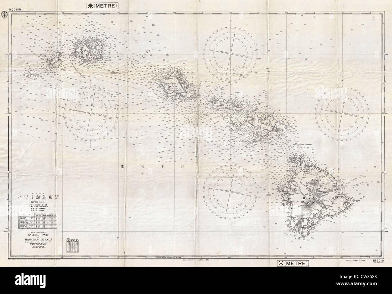 1939 Japanese World War II Chart or Map of Hawaii - Stock Image
