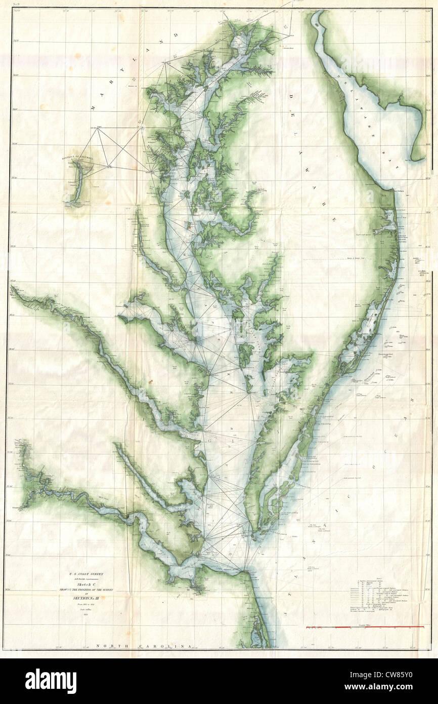 1859 U.S. Coast Survey Chart or Map of the Chesapeake Bay - Stock Image
