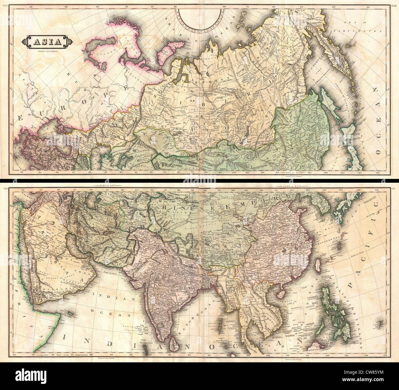 1820 Lizars Wall Map of Asia (in two panels) - Stock Image