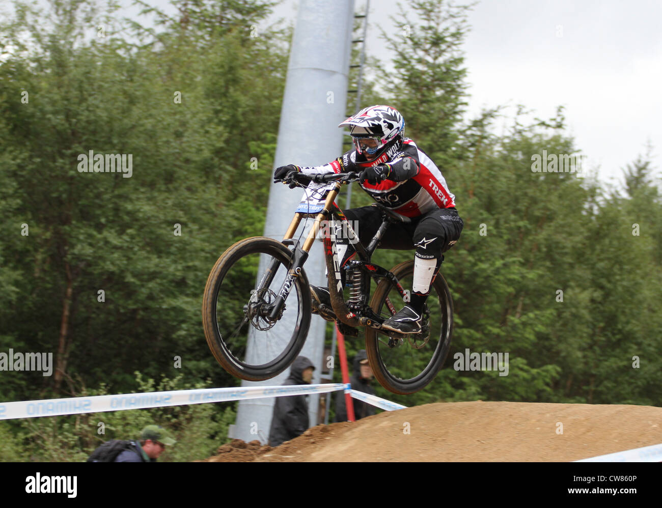 Tracy Moseley during practice for 2012 downhill world cup at Fort William Stock Photo