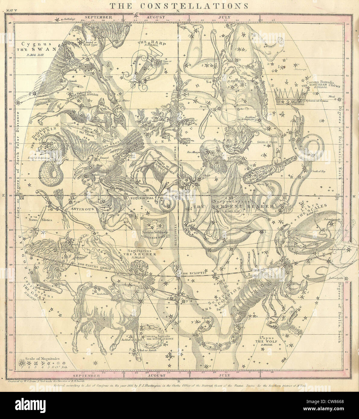 1856 Burritt - Huntington Map of the Constellations or Stars in July, August ^ September - Stock Image