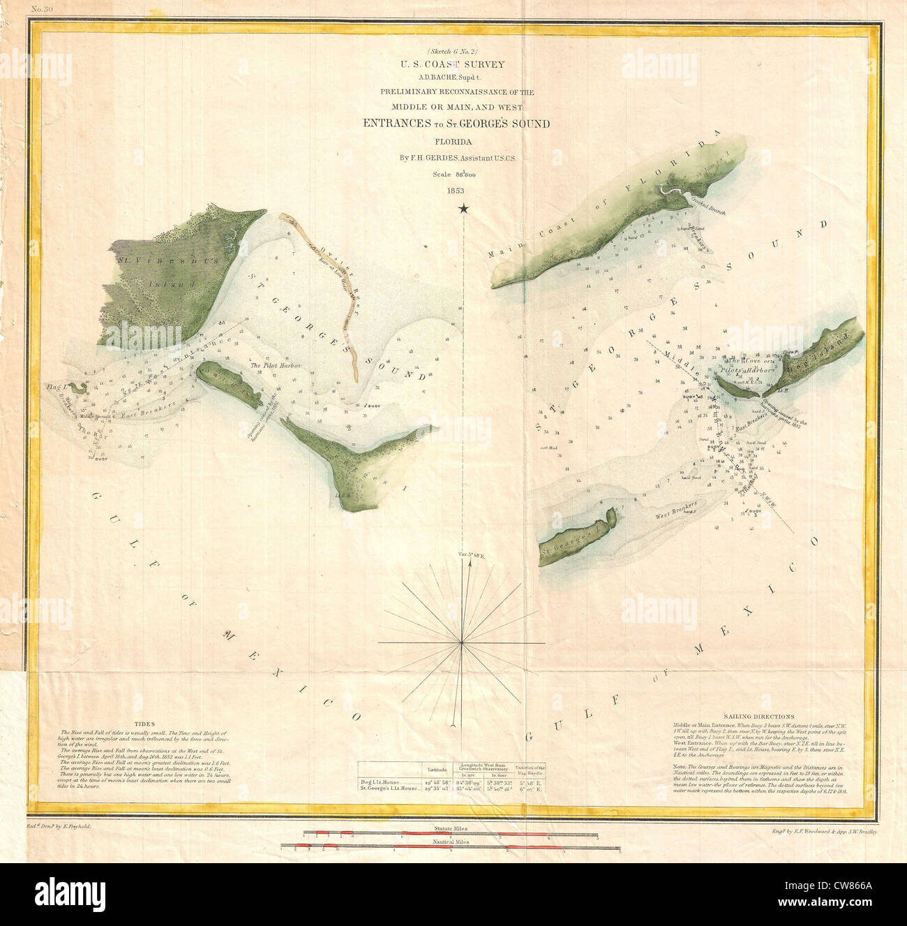 1853 U.S. Coast Survey Chart or Map of St. Georges Sound ...